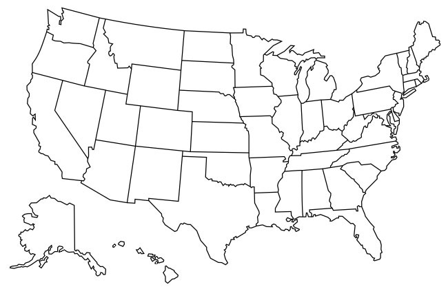 Map Of States Visited US State Map USA Map With Color States - Map of us by state